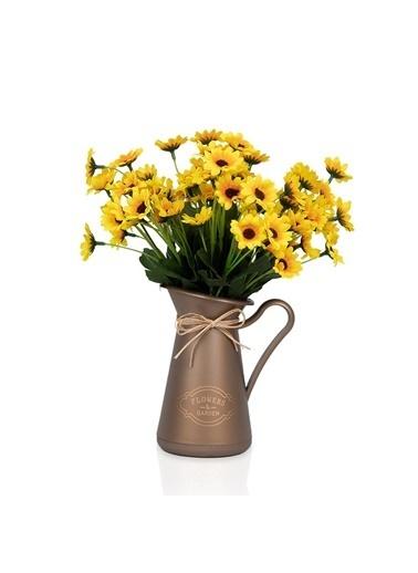 Çiçekmisin Açık Kahve Saksıda 3 Demet Papatya Yapay Çiçek Renkli